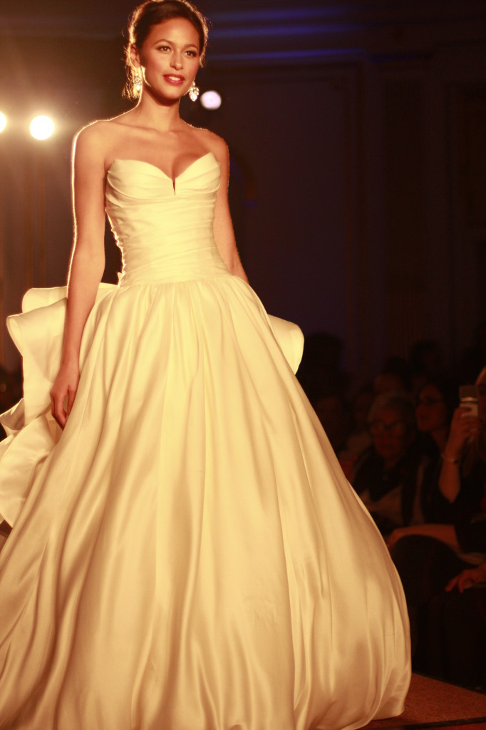 Pnina Tornai Ivory sweetheart silk ball gown floral details on the back
