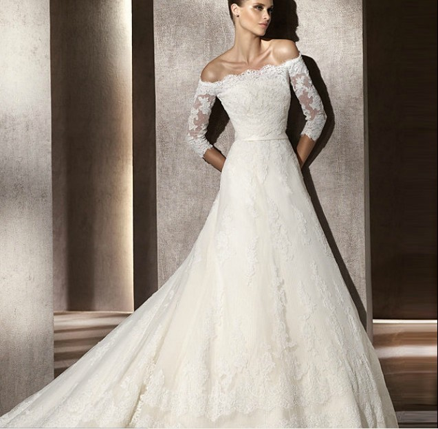 Fabulous Off the Shoulder Lace Sleeve Wedding Dress 637 x 624 · 88 kB · jpeg